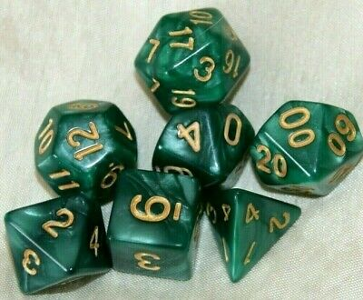 AU8.98 • Buy Dice Set 7 Piece DnD Green & Gold Pearl Polyhedral Dungeons & Dragons + Bag