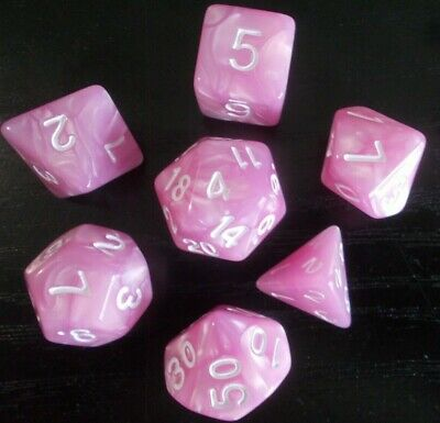 AU8.98 • Buy Dnd Polyhedral 7 Piece Dungeons & Dragons Pearl Pink + White  Dice Set + Bag