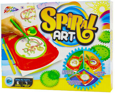 Spiral Art Maker With Puzzle Stencil Cords / Picture Maker / Paper / Markers UK • 6.99£