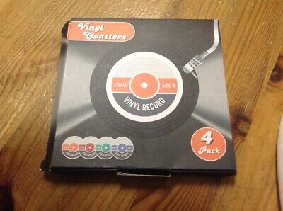 Retro Style Vinyl Record Coasters X4. Boxed.Red / Orange / Green / Purple Labels • 4.25£