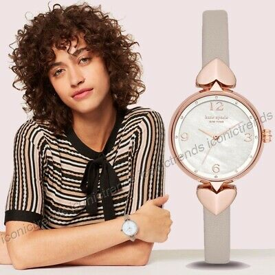 $ CDN90.08 • Buy NWOT 🍭 Kate Spade KSW1548 Hollis Taupe Leather 30mm Heart Rose Gold Tone Watch
