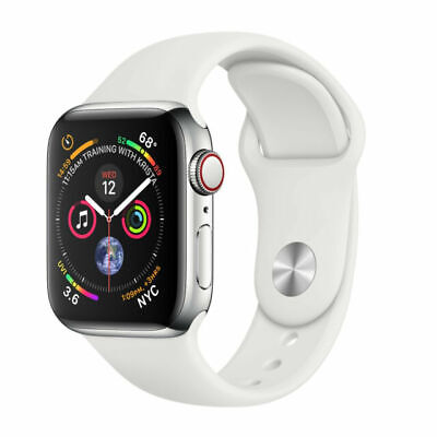 $ CDN705.74 • Buy Apple Watch Series 4 40 Mm Stainless Steel Case White Sport Band Cellular+GPS