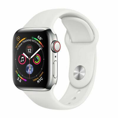 $ CDN679.01 • Buy Apple Watch Series 4 40 Mm Stainless Steel Case White Sport Band Cellular+GPS