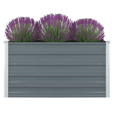 VidaXL Raised Garden Bed Galvanised Steel Grey Metal Planter Pot Flower Boxes • 28.99£