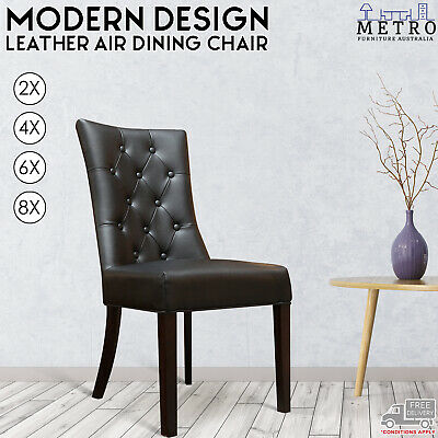 AU2658 • Buy New Luxury 2,4,6,8 Leather Air Brown,Black Dining Chair, With Solid Timber Legs