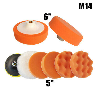 5  Polishing Sponge Heads 6  Car Waxer Buffing Valeting Soft Mop Pads M14 Thread • 18.99£