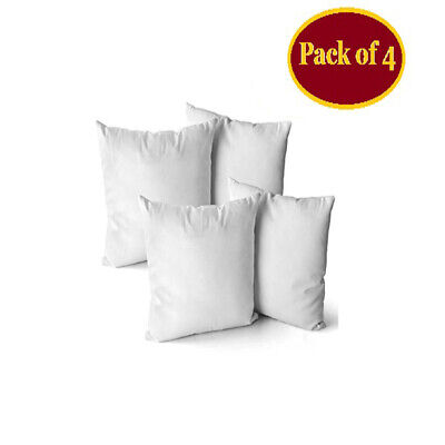 Pack Of 4 Cushion Pads Hollowfibre Inserts Fillers Inner Sofa Throw Couch Pillow • 9.43£