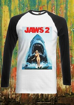 Jaws 2 Steven Spielberg Shark Men Women Long Short Sleeve Baseball T Shirt 2113 • 6.95£