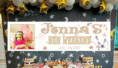 £7.95 • Buy 2 X Personalised Hen Party Banners Do Night Rose Gold Pink Purple Decorations