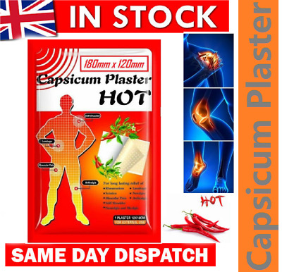 Large Capsicum Plaster TIGER Hot Pain Relieving Patches Muscle Relief+Belladonna • 2.99£