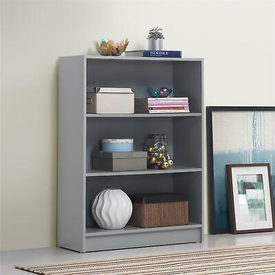 £39.99 • Buy 3 Tier Bookcase Wide Display Shelving Storage Unit Wood Furniture Grey