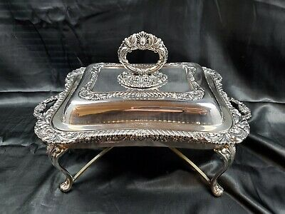Silver Plated Entree Dish On Stand, Antique, English Stamped, Ornate Handles • 133.04£