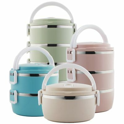 AU49.72 • Buy Food Container Storage 1-4 Layer Large Stainless Steel Thermos Adult Lunch Box
