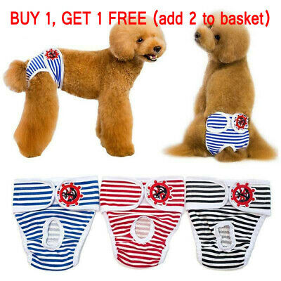 S-XL Striped Female Pet Dog Pant Bitch Season Menstrual Sanitary Nappy Diaper UK • 3.29£