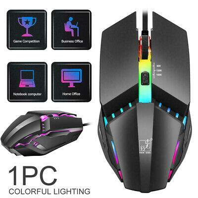 AU7.39 • Buy 7 Colors LED Lighting Buttons USB Wired Mouse 1600DPI Adjustable Gaming Mice Ho