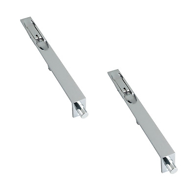 2 X Chrome Zoo Door Edge Finger Lever Action FLUSH BOLT Lock Double Doors 200mm • 14.95£