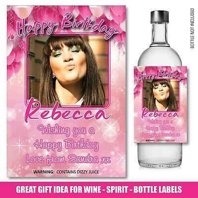 Personalised Wine Gin Vodka Bottle PHOTO Label 18th 21st 30th Birthday Gift 158 • 3£