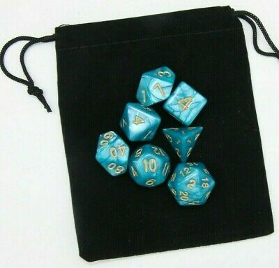AU8.98 • Buy Dice Blue With Yellow Numbers Polyhedral 7 Piece Pearl DnD RPG Set + Bag