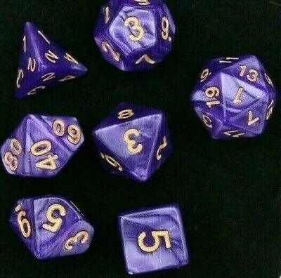 AU8.98 • Buy Dice Polyhedral Dungeons & Dragons Purple With Gold Numbers Pearl Dice Set +Bag