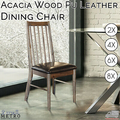AU1777 • Buy New Acacia Wood PU Leather Dining Chairs, Brown And Black Premium Dining Chairs