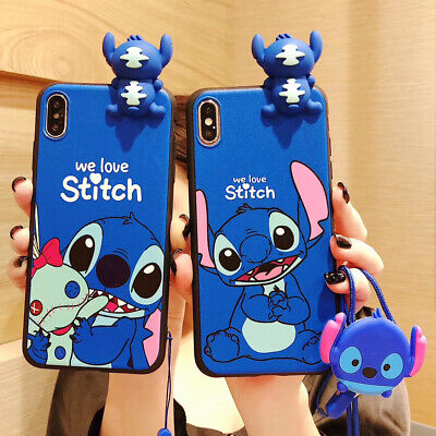 AU6.99 • Buy Cute 3D Cartoon Kawaii Stitch Animal Doll + Strap Case Cover For Various Phone