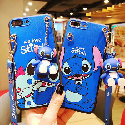 AU5.35 • Buy Cute 3D Cartoon Stitch Doll Pendant  Stand + Strap Case Cover For Various Phone