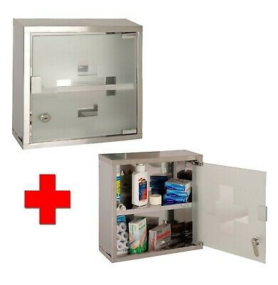 Wall Mounted Medical Cabinet First AID Medicine Kit Tablet Box Shelf Glass Door • 23.99£