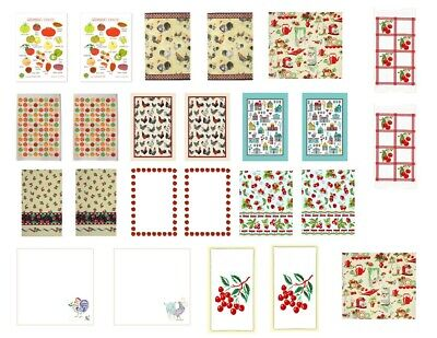 $7.99 • Buy Dollhouse Miniature Computer Printed Fabric Shabby Chic Kitchen Dish Towels 1:12