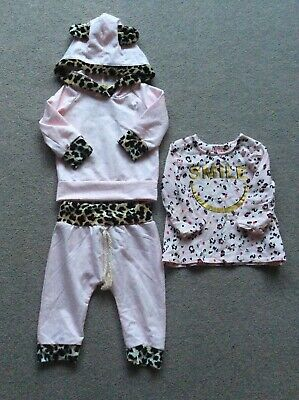 Baby Girls Age 3-6 Months Pink Mix With Animal Print Complete Tracksuit • 2.50£
