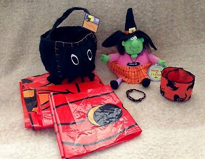 $ CDN9.78 • Buy Vintage Mixed Lot Of 7 Halloween Items - Witch-Spider-Leaf Bags-Ribbon-Bracelet