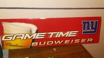 $ CDN102.55 • Buy Vintage 2003 Budweiser Beer New York Giants Football Tin Metal Sign Game Time