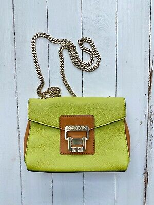 MarcCain Lime Green Cross Body Leather Handbag With Gold Long Chain Strap Unworn • 8£