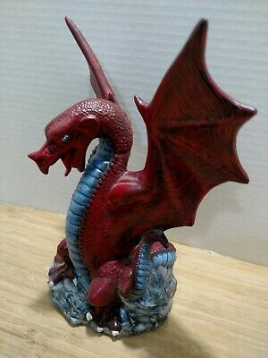 $20.70 • Buy Fantasy Collectible Winged Red, Blue Dragon Figurine  9   Tall Ceramic Pottery