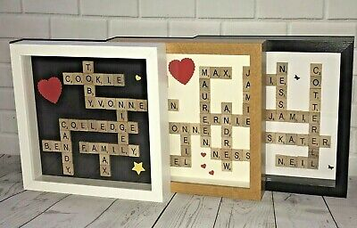 Personalised Scrabble Art Picture Gift Birthday Wedding Engagement~10  Box Frame • 17.99£