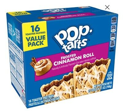 New Kellogs Pop Tarts 16 Pack Frosted Cinnamon Roll Flavour • 8.50£