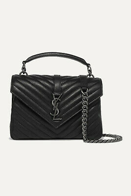 AU3065 • Buy Saint Laurent YSL Medium COLLEGE Bag In Black With *RECEIPT* - NEW WITH TAGS