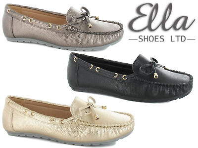 Ladies Loafer Slip On Shoes Bow Moccasins Comfort Padded Flats Dolly Ella Shoes • 15.99£
