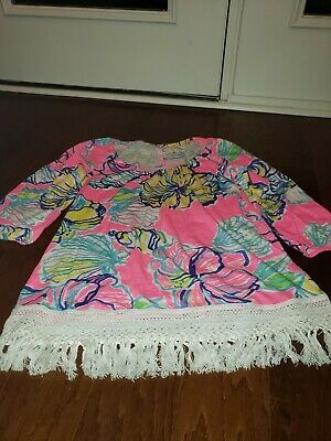 $34 • Buy Lilly Pulitzer ALIA Top / Coverup Off Shoulder Fringe Swept By The Tides Medium