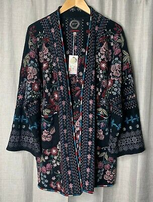 $209.95 • Buy Johnny Was Aya Black Kimono Wrap Jacket Floral Embroidered S NWT Boho Chic