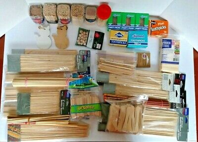 $24.98 • Buy Box Of Wooden Wood Craft Supplies Sticks And Toothpicks Sticks Beads Cats