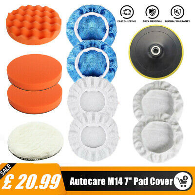 11PCS 7  Polishing Sponge Heads 180mm Car Buffing Valeting Mop Pads M14 Threads • 18.99£