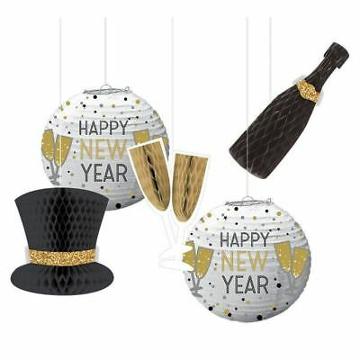 £12.95 • Buy New Years Eve Honeycomb Hanging Decorations 5 Pc