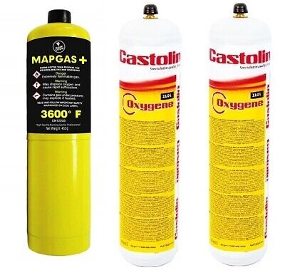 2 X Castolin/oxy Turbo Oxygen Replacement Gas Cylinder Bottle + 1 X Mapp Map Gas • 51.99£