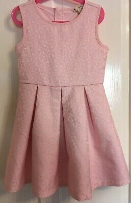 Girls Summer Dress. Size Age 7-8. Yumi Girl Pink Jacquard Floral Never Worn • 7.99£