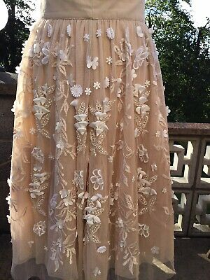 Asos Blush Pink Skirt With Layer Of Netting & Flower Detail Size 8 • 25£