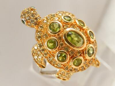 $29.99 • Buy CHARLES WINSTON Sterling CZ Jeweled TURTLE RING Green White Sz 8 MINT Ornate