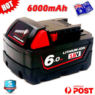 AU49.99 • Buy 18 Volt Battery For Milwaukee 18V XC 6Ah Lithium M18 48-11-1840 48-11-1828 M18B6