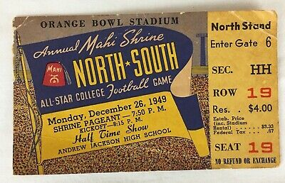 $22.45 • Buy 1949 Orange Bowl Stadium Florida All-Star College Football Ticket Stub