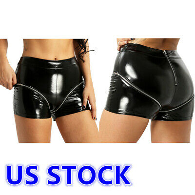 $14.99 • Buy US Womens Patent Leather High Waist Double Zipper Mini Shorts Hot Pants Clubwear