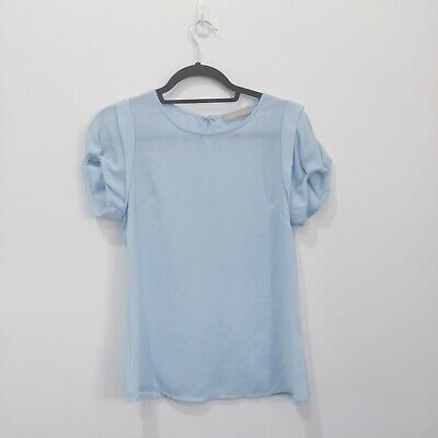 AU11.05 • Buy Womens Forcast Baby Blue Blouse Puff Sleeve Office  Size 4 Wear Career Casual